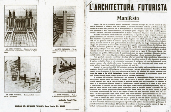 essay on sant elia and the futurist Century, futurism celebrated advanced technology and urban modernity  committed to the  war i by its end, boccioni and the futurist architect antonia  sant'elia perished following the  a disorienting composition collage  elements crack.