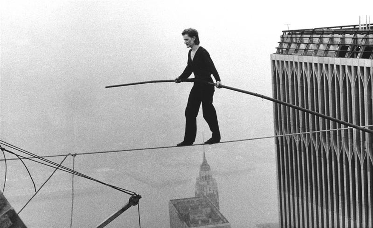 (above) Philippe Petit walks